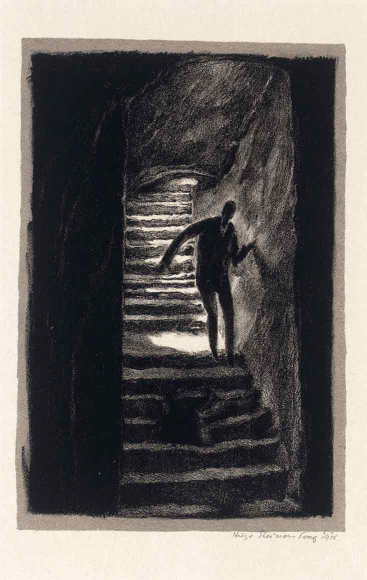 Black and white lithography of a figur on a dark staircase