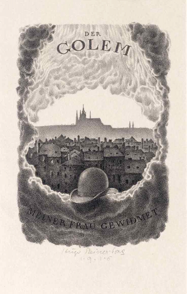 Black and white lithography of a hat in front of the city of Prague