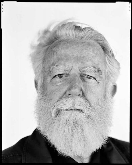 Black-and-white portrait photo of James Turrell