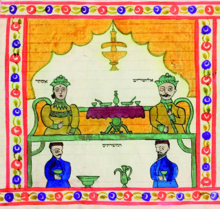 Color historical illustration of two scenes, one of a man and woman sitting at a dinner table, the other of two men holding cups