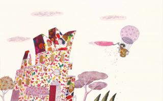 Ein Mädchen fliegt in einem Heißluftballon und streicht eine Wolke rosa an. Daneben steht ein kunterbuntes Schloss zu sehen.