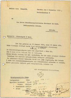 Maschinenschriftlicher Brief mit der Bitte um Zahlungsbefreiung