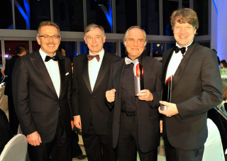 Anniversary dinner 2009: Award winners Michael Verhoeven, Christof Bosch and Franz Fehrenbach with Horst Köhler