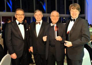Jubiläumsdinner 2009: Preisträger Michael Verhoeven, Christof Bosch und Franz Fehrenbach, mit Horst Köhler