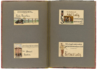 Two-page spread with the place cards for Frieda Gusstein, Hermann Gusstein, Adolf Lustig, and Berthold Lustig