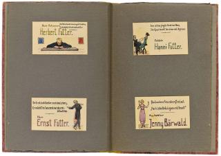 Doppelseite mit vier Tischkarten von Herbert Futter, Ernst Futter, Hanni Futter und Jenny Baerwald.
