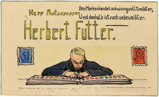 "Herbert Futter's place card. Herbert Futter is shown hunched over an open stamp album. Above, the couplet reads ""A philatelist leads a life of Sisyphos, /Thus our Bert remains, though handsome, Mrs.-less."""