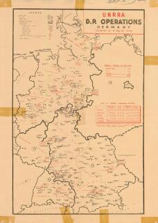 Eine Deutschlandkarte, unterteilt in die verschiedenen Besatzungsszonen nach 1945, in der DP-Camps verzeichnet sind