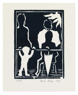 Black and white print depicting the silhouettes of a child, an umbrella, and other adults