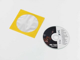 CD mix tape with bright yellow CD paper case