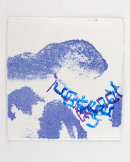 Blue print on white paper of an abstract mountainous-like landscape with layers of Hebrew letters in multicolored ink