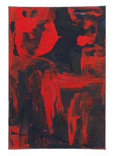 A dark blue rectangle is smeared with strokes of bright red paint