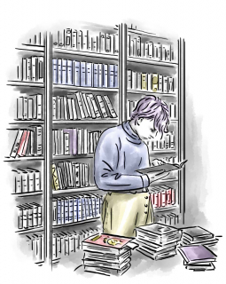 Drawing: a teenager is standing in a room with bookshelfs at the walls, he is delved into a book