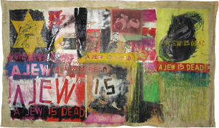 "Colorful painting collage with the star of david and the text ""A Jew is Dead"" repeated throughout the painting"