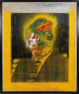 Ein mit Farbe übermaltes Porträt eines Mannes, dessen Gesicht über der Krawatte nun unkenntlich ist
