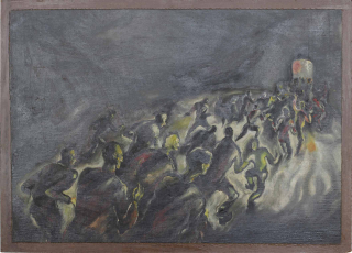 Expressionistic painting of a group of people rushing out of a dark space through small lighted doorway