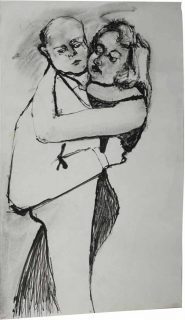 Drawing of a man and woman dancing, their faces are expressionless, their bodies are merging as one
