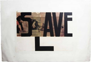 "Cut out picture of a topless woman wearing lingerie and laying on her side with the word ""SLAVE"" covering the majority of the photo"