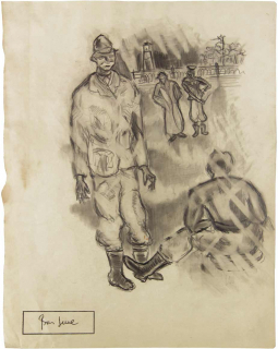 Drawing of a few men wearing large coats, black boots, and hats standing near a wire fence and watch tower