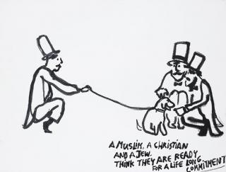 Zeichnung von drei Männern mit einem Hund