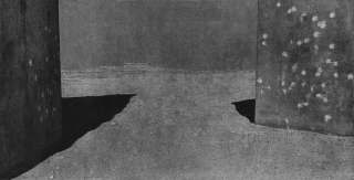 Photo in grey tones, on the right and left there are shadow-throwing, dark grey cuboids with bright dots, one thinks of walls with paint splashes or bullet holes.