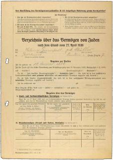 Vordruck »Verzeichnis über das Vermögen von Juden«, handschriftlich ausgefüllt