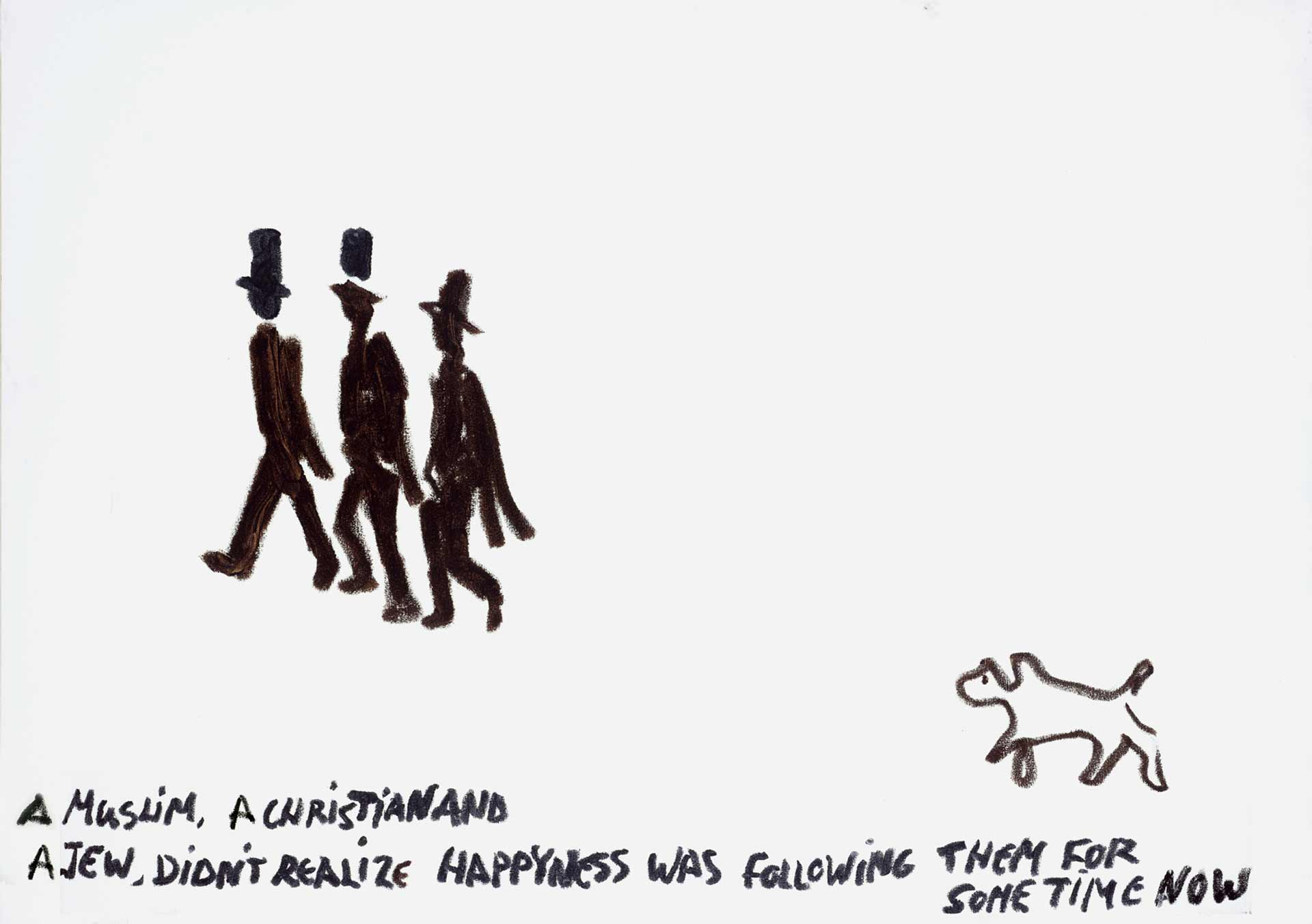 Zeichnung von drei Männern mit Hut, denen mit einigem Abstand ein Hund hinterherläuft