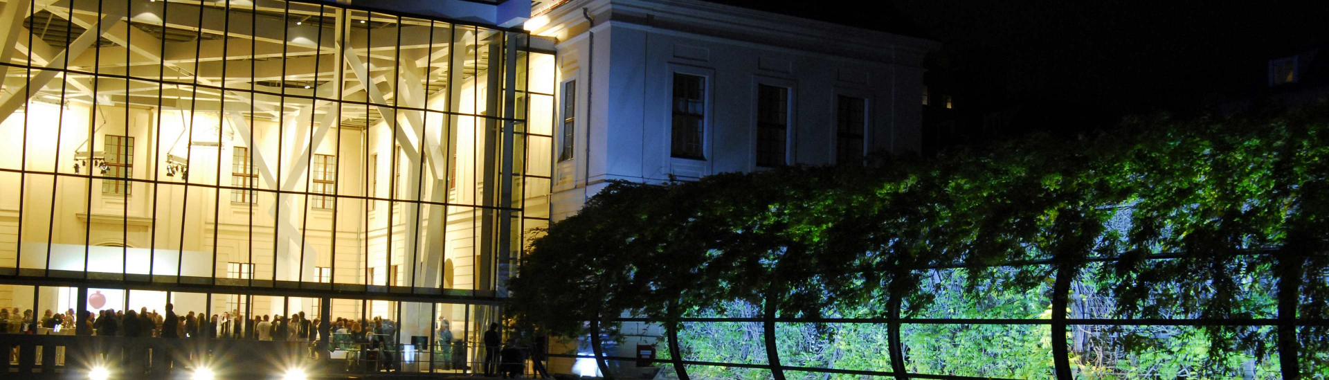 People at an event in the glass courtyard, view from the garden at night