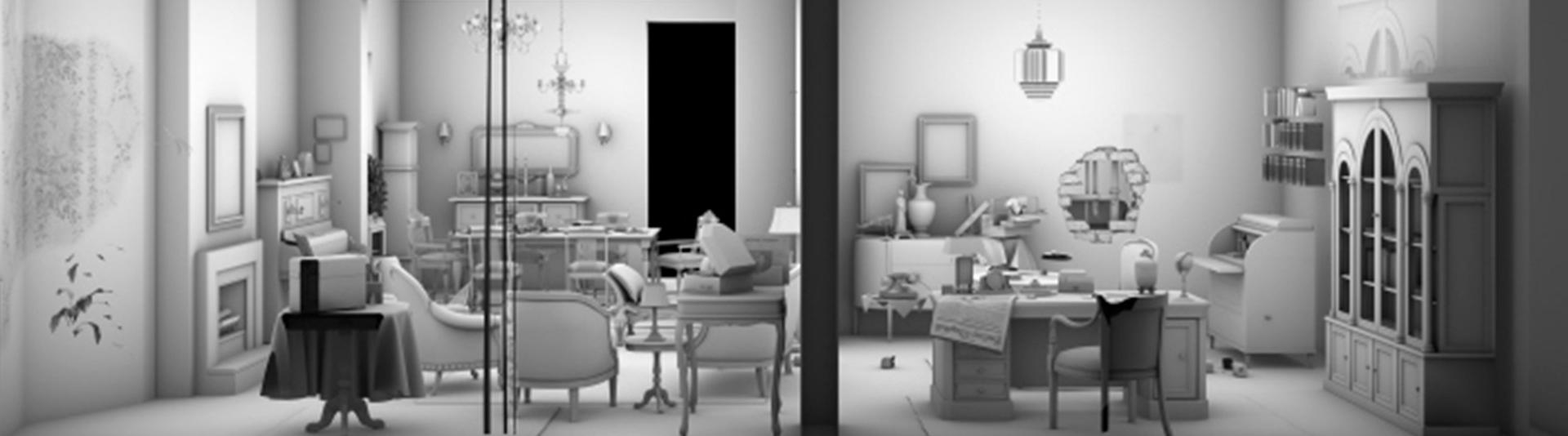 Blick in das Modell eines Wohnzimmers
