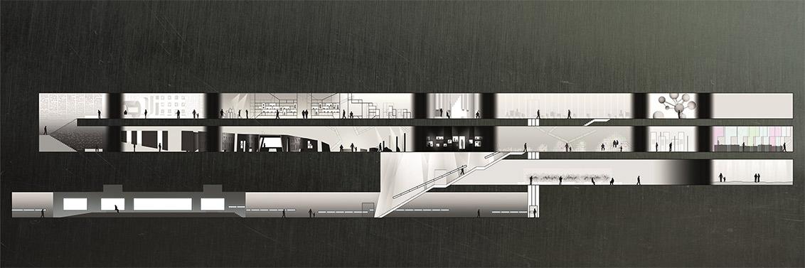 Entwurfsansicht von vier Stockwerken (UG, EG, 1. OG, 2. OG), in den beiden obersten angedeutete Ausstellungsgegenstände und Besucher*innen