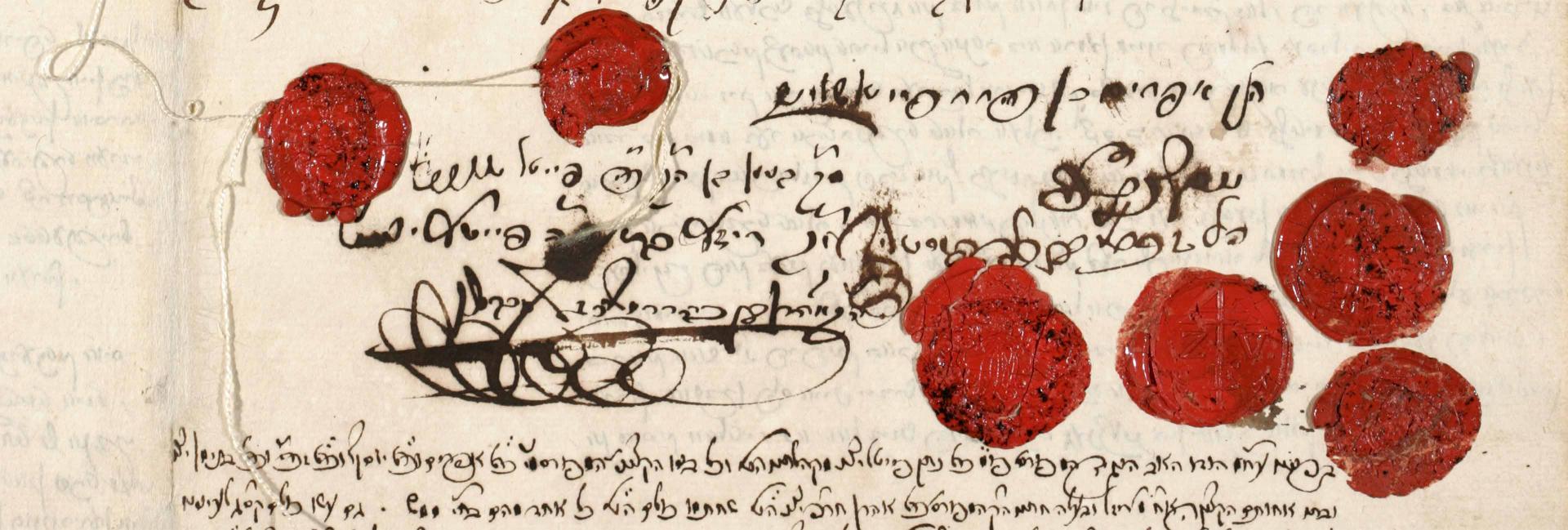 Ausschnitt aus dem handschriftlichen Testament von Veitel Heine Ephraim mit sieben roten Siegeln