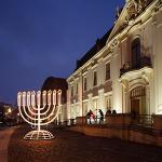 Hanukka  candelabrum outside the Museum Berlin