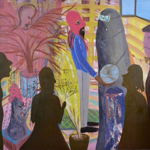 Shai Azoulays painting <cite>Golem</cite>: in the center, a man wearing a red hat is holding a blue ball. On the right-hand side, a woman with a burka is standing. In the foreground, two human silhouettes can be seen.