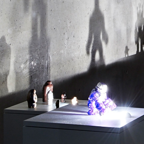 View of the exhibition room »The Golem lives on«, showing action figures