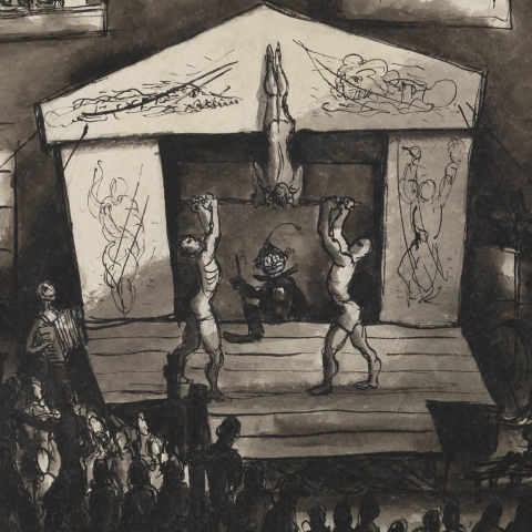 Varieté. Inmitten eines Hofes eine provisorisch beleuchtete Bühne und Artist*innen. Rundum herbeikommende Zuschauer*innen