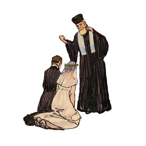 Zeichnung eines Rabbiners, der ein Brautpaar segnet