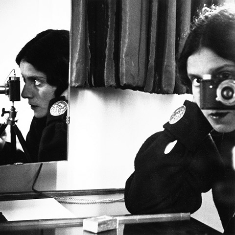 Ilse Bing with a Leica camera