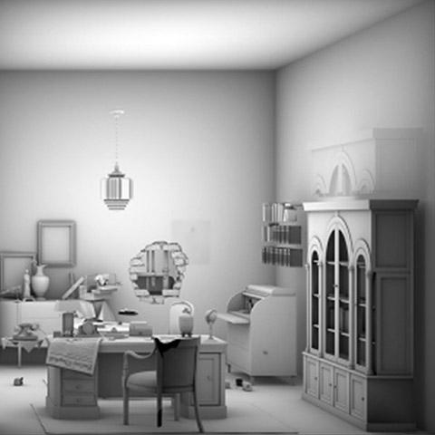 Blick auf das Modell eines Wohnzimmers