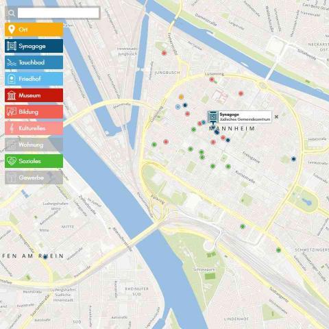 Landkarte mit Markierungen