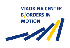 Logo in blau und gelb mit Schriftzug: Viadrina Center Borders in Motion