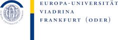 Logo in blau und gelb mit Schriftzug: Europa Universität Viadrina Frankfurt (Oder)